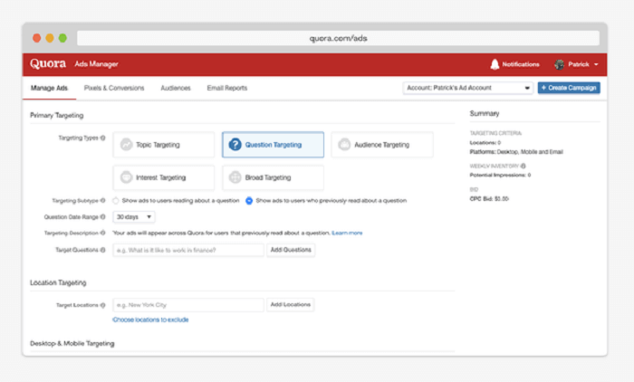 What is Quora Ads Accounts